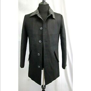 ELEVEN PARIS Wool Leather Overcoat 40 Small